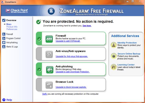 ZoneAlarm Firewall Free screenshot