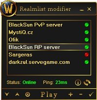 World of Warcraft Realmlist Modifier